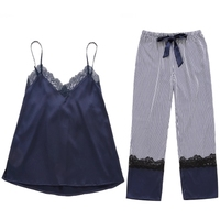 New Casual Pajama Women Sleeveless V Neck Sleepwear Lace Top And Striped Long Pants Pajamas Set