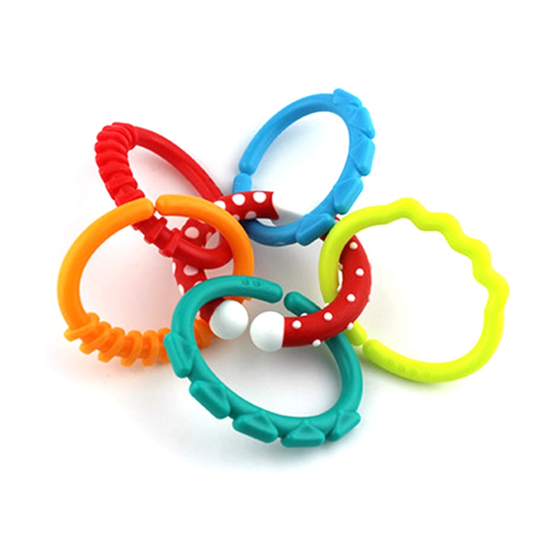 baby new born Rainbow rattles ring chain toy for baby kids molars clutch ring Grip teether bed hanging rattle ball doll rattle