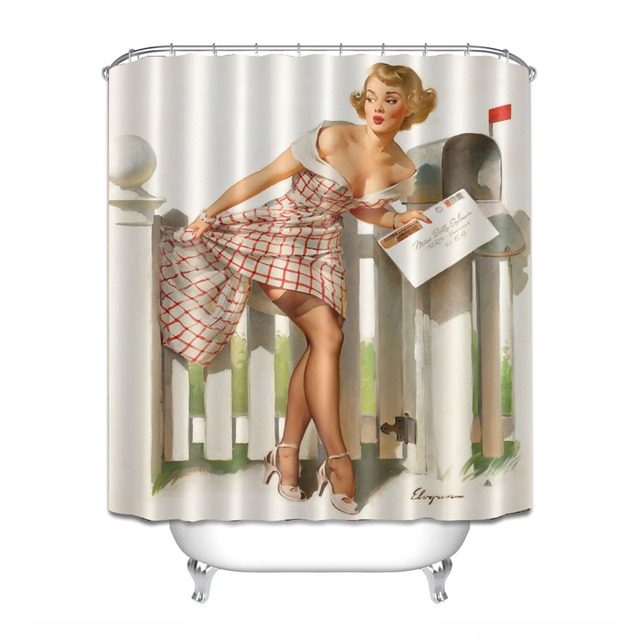 Sexy Retro Girls Shower Curtain