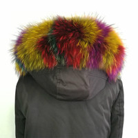 100% Genuine Real Natural Colorful Raccoon Fur Collar Women Scarf Fashion Coat Sweater Hoodie Scarves Luxury Neck Cap