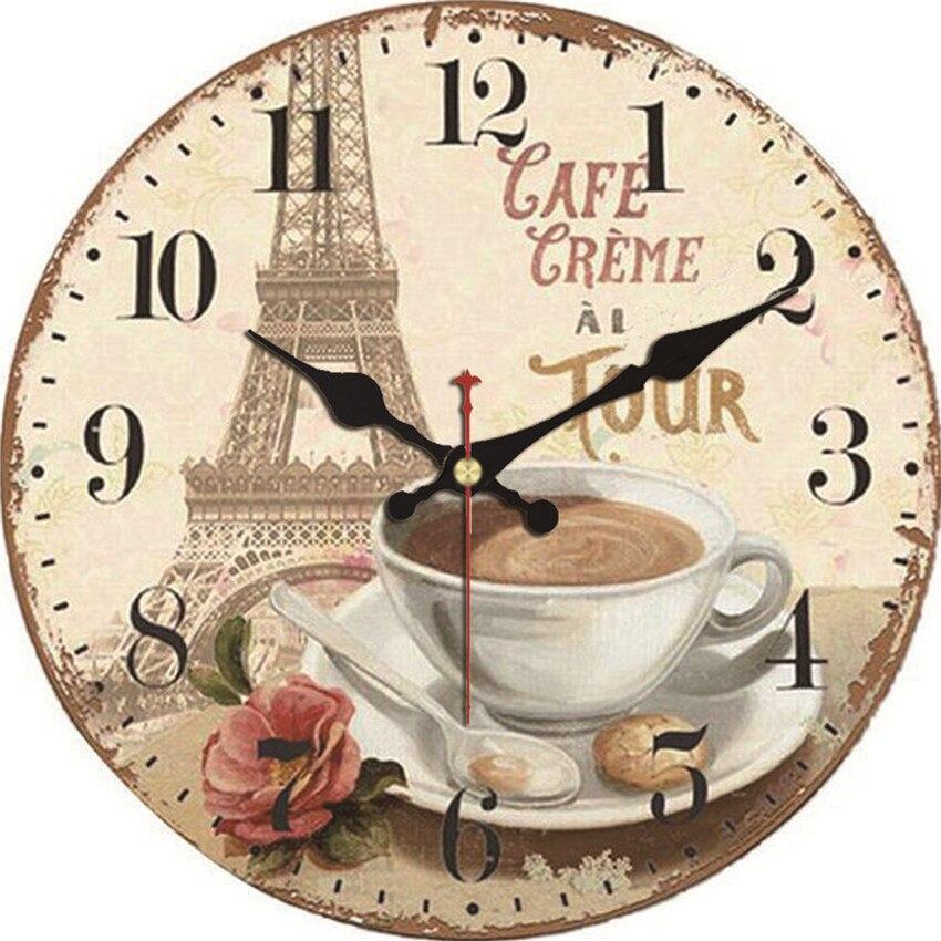 Wonzom relógio de parede torre design do vintage relógio parede grande silencioso para sala estar flor saat casa decoração cozinha relógio parede