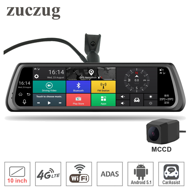 """10"""" Full Touch IPS 4G Special Car DVR Camera Android Mirror Dual Lens Video Recorder Dash Cam GPS Bluetooth WIFI ADAS Car Assist"""