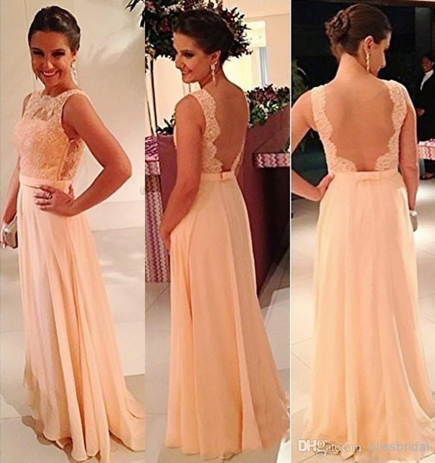 Free Shipping C Color Bridesmaid Dresses Long Sleeveless Backless Vestidos De Noiva Floor Length D Peach Party Gowns In From