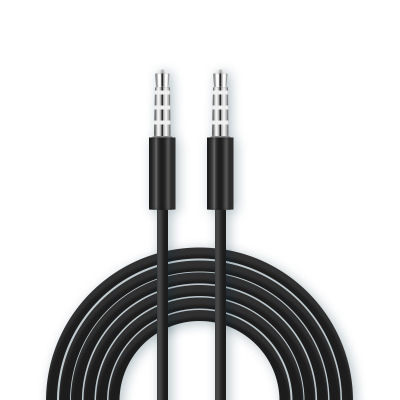 Soonory good quality black fashion 3.5mm aux audio cable for computers cars phones and speakers two round heads