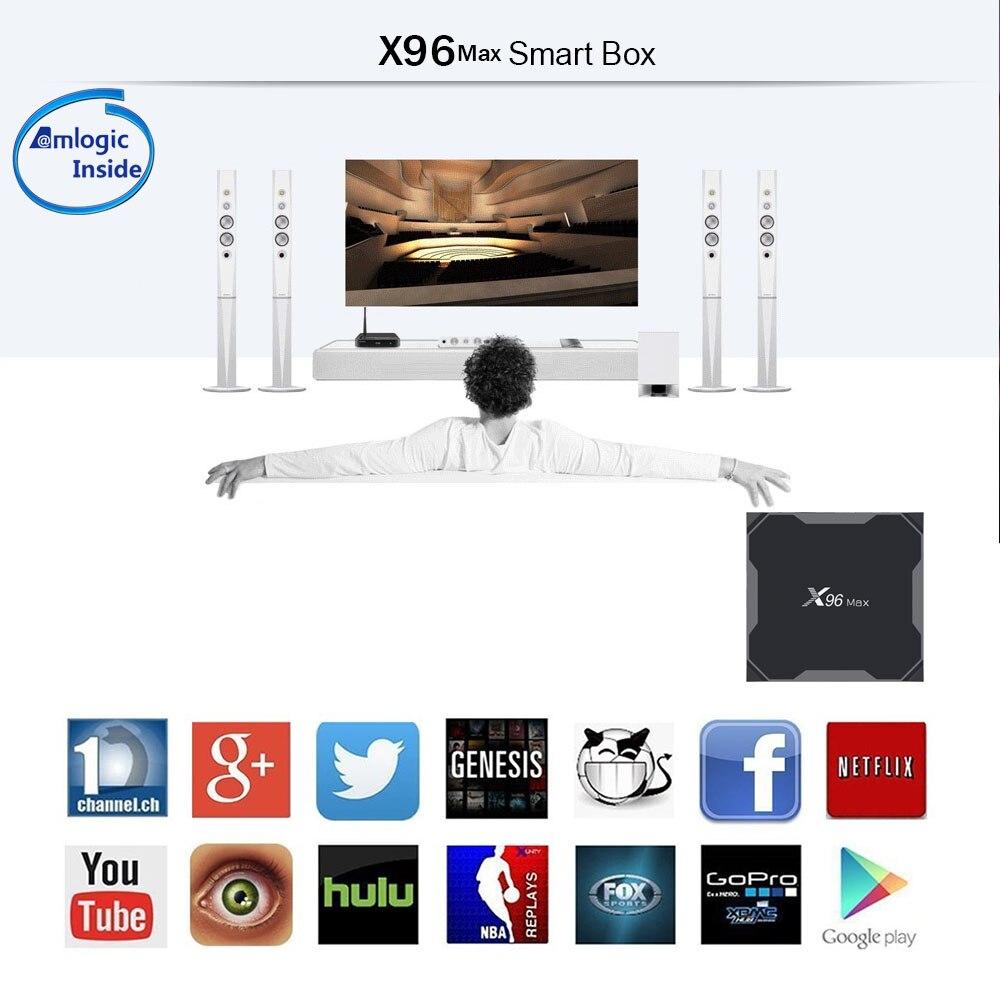 Android 8.1 TV Box X96MAX Amlogic S905X2 4 GB 64 GO Quad Core 2.4G & 5 GHz Wifi 1000 M H.265 4 K lecteur multimédia Smart Set Top Box X96 MAX - 4