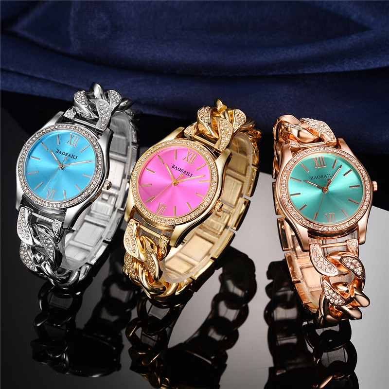 BAOSAILI Fashion Luxury Women's Bracelet Watch Relogio Feminino Gold Plated Watchband Ladies Waterproof Quartz Wristwatches 49