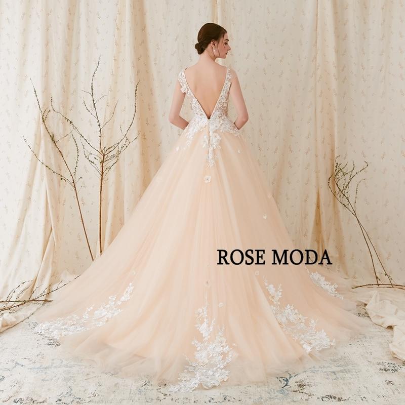 Rose Moda Modern 3D Blommigt Bröllopsklänning Låg V Tillbaka - Bröllopsklänningar - Foto 3