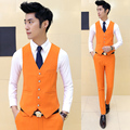 new 2017 Men fashion boutique cotton wedding dress suit vest / Premium brand mens Pure color slim groom suit vest / Male vests