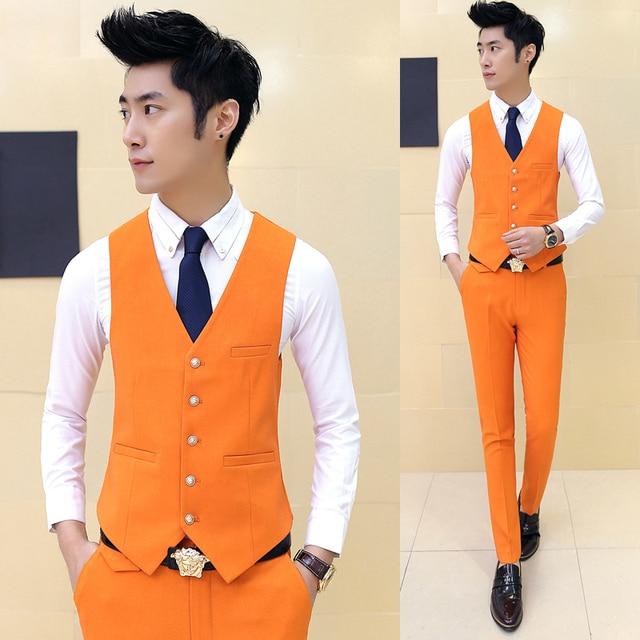 new 2017 Men fashion boutique cotton wedding dress suit vest / Premium brand mens Pure color slim groom suit vest / Male vests
