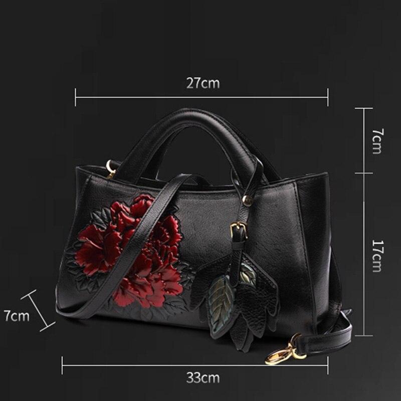 Muster Bankett B Luxus Crossbody Mode Top Blume Griff Schulter Frau Vintage 3d Tasche Echtem a Handtasche Leder qOAwTtF