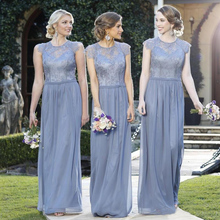 Cheap Plus Size Gray Lace bridesmaid dresses 2016 New Pleated Chiffon vestido de madrinha For Weddings Party Gown Formal Dresses