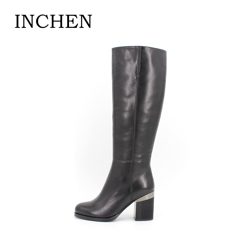 INCHEN Fur Wool Plush Cow Leather winter woman boots Genuine Leather cm