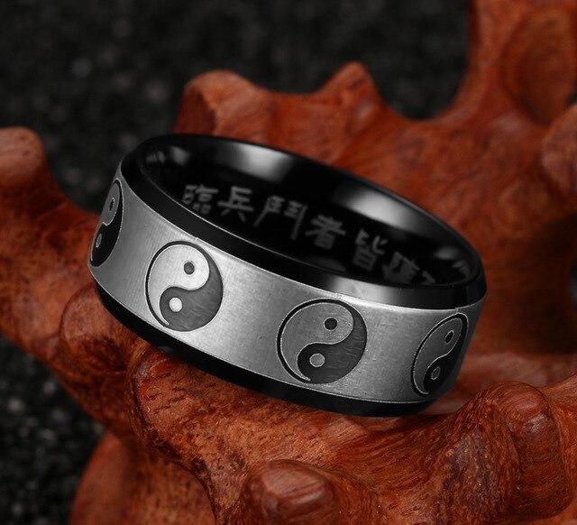 Кольцо инь янь нержавеющая сталь 1
