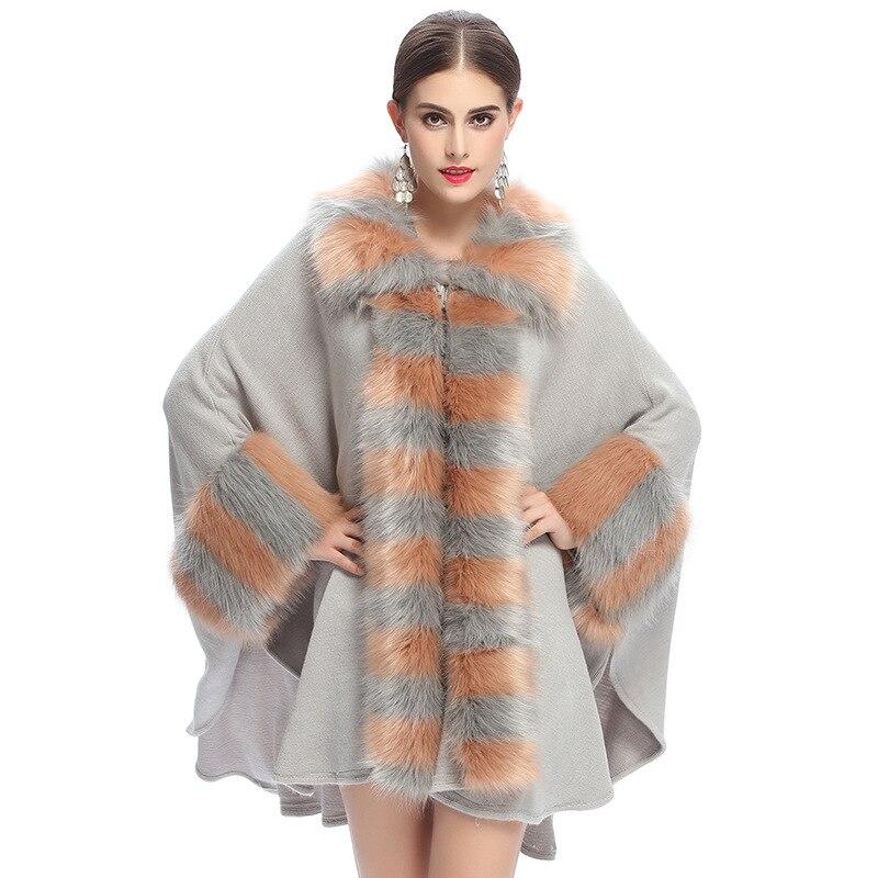 2016 New Luxury Autumn Winter Warm Fur Poncho Women Sweater Fashion Loose Knitted Cardigan Sweaters Shawl