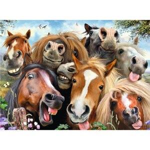 Diy pintura diamante animal grupo cavalo completo dimaond bordado grupo animal decoração do cavalo diamante mosaico grupo animal cavalo