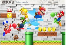 Large modern cartoon wallpaper bedroom children's room decoration mural wallpaper 3D background wall paper Super Mario(China (Mainland))