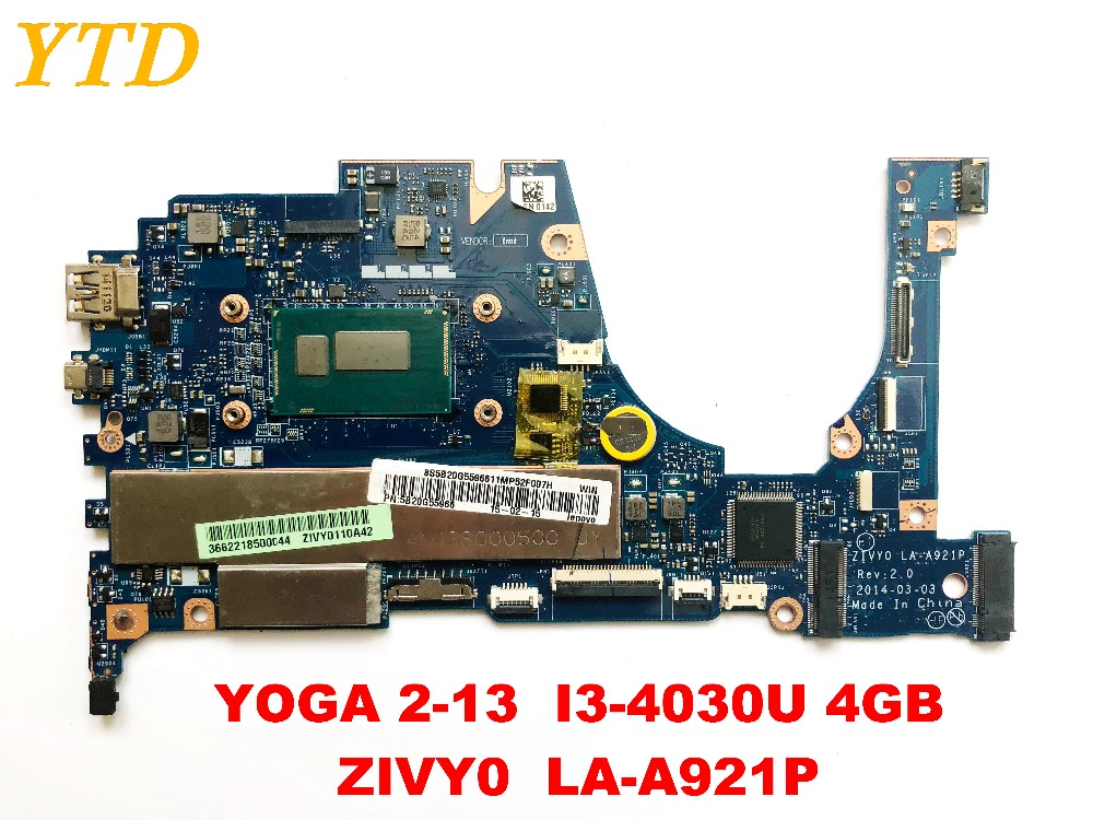 Original For Lenovo YOGA 2-13  Yoga 2 13 Laptop Motherboard  YOGA 2-13  I3-4030U 4GB  ZIVY0  LA-A921P Testedgood Free Shipping