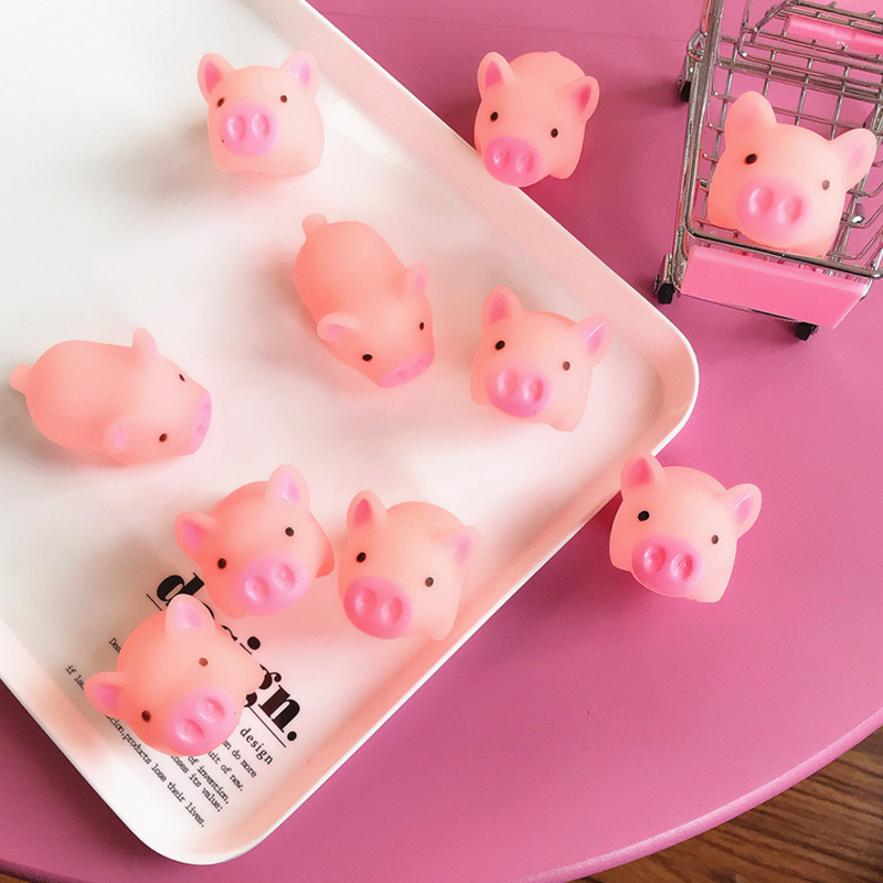 5pcs/lot Cute Cartoon Pink Pig Toy Venting Antistress Squeeze Toys Pinch Silicone Rebound Decorative Crafts Squish Kids Gifts