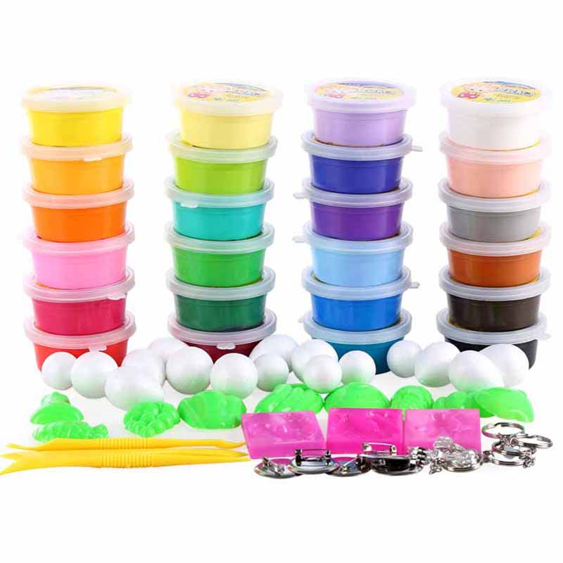 24colors Super Light Modeling Clay Set with Tools Magic Jumping Air Dry Play Dough Playdough Intelligent Plasticine DIY Toys
