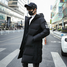Fashion youth popular Winter mens down jacket long section fit thick three-dimensional patch bag design Coat