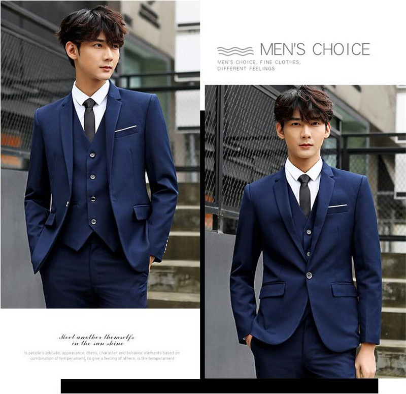 High Quality Navy Wedding Men Suit Notch Collar Slim Fit 3 Pieces Jacket+Pants+Vest For Wedding Groom Tuxedos Formal Suit - 2