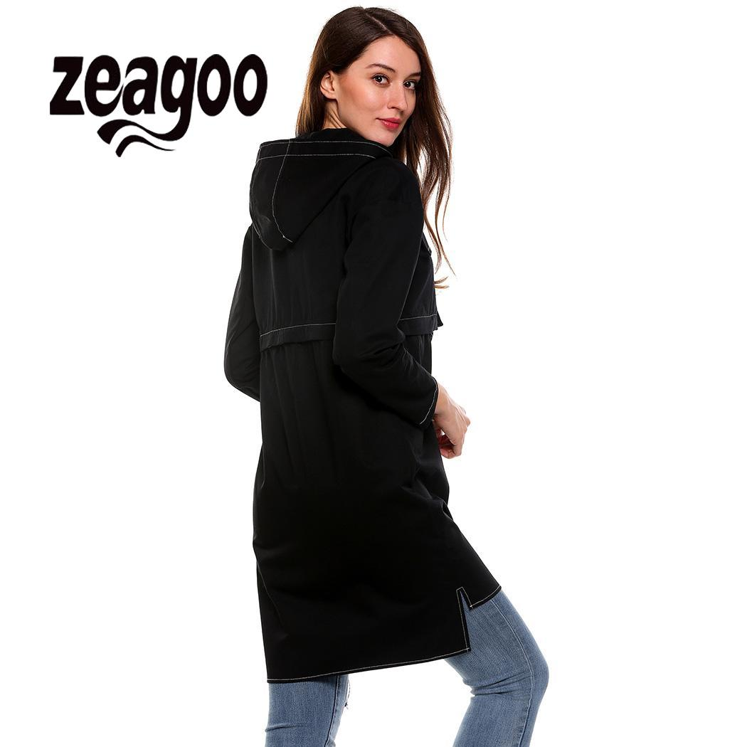 Jacket Pocket Button Black Casual Solid Sleeve Long Women Zeagoo Hooded pink H8wSFxqq
