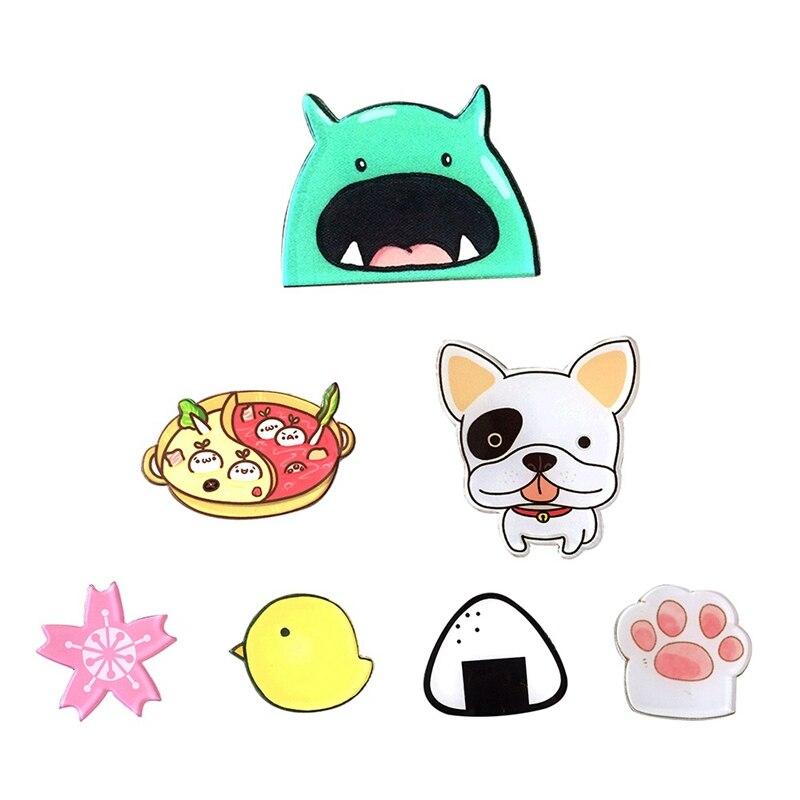 1 Pcs Hot Lustige Charme Nette Cartoon Tier Lebensmittel Vogel Haustier Pfote Acryl Kragen Pins Abzeichen Corsage Acryl Abzeichen Nette Katze Hund Broches