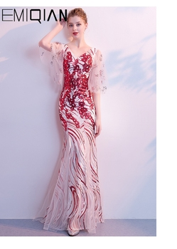 New Vestido de Festa Mermaid prom dress Robe De Soiree O-neck half sleeves sequin Evening Dress