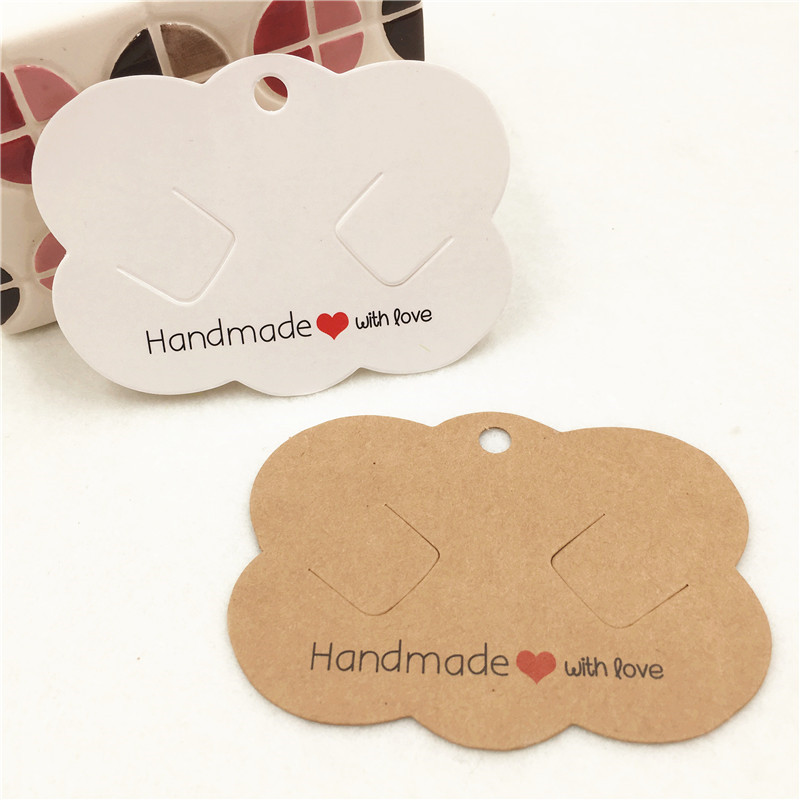 50Pcs/Lot Hairpin Card 6.5x9cm Jewelry Fixed Hair Accessory Set Holder Handmade With Love Hang Tag Hair Clip Card Packaging