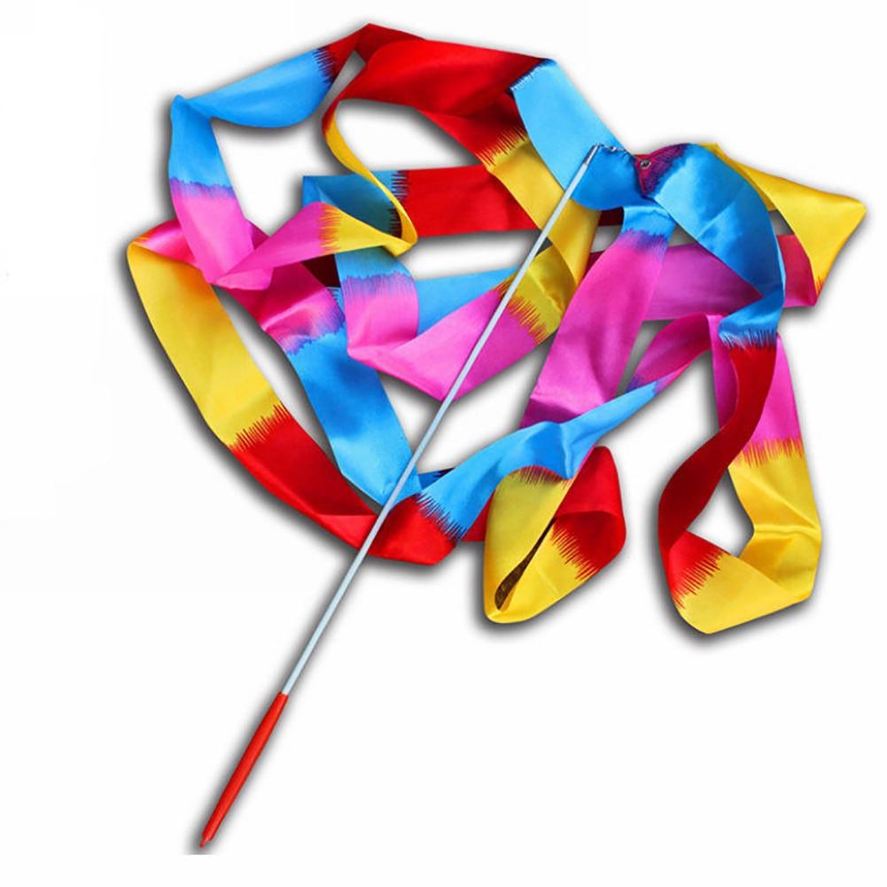 цена 4M Colorful Dance Ribbon Gym Rhythmic Art Gymnastic Streamer Twirling Rod Stick Gymnastic Training Ribbon