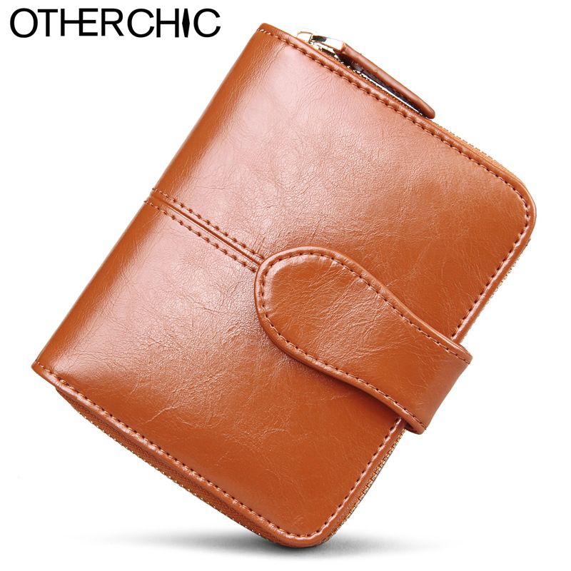 OTHERCHIC Oil Wax Cowhide Leather Women Short Wallets Small Wallet Coin Pocket Credit Card Female Purse Money <font><b>Clip</b></font> 5N12-03