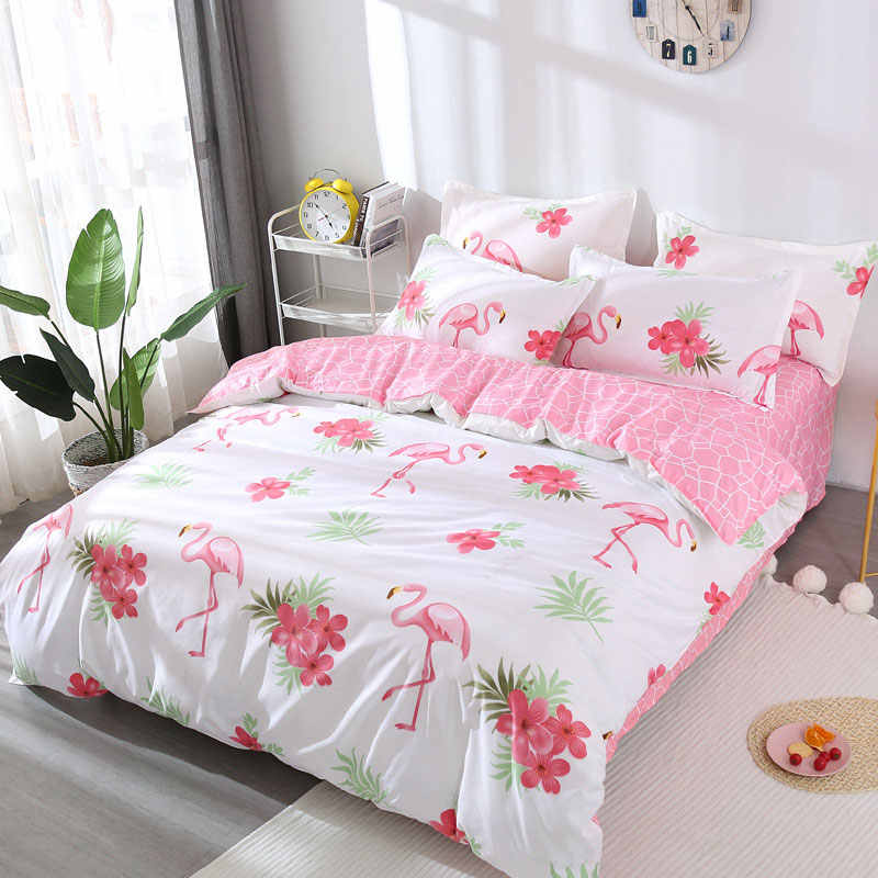 Pink Flamingo 4pcs Kid Bed Cover Set Cartoon Duvet Cover Adult Child Bed Sheets And Pillowcases Comforter Bedding Set 2TJ-61003