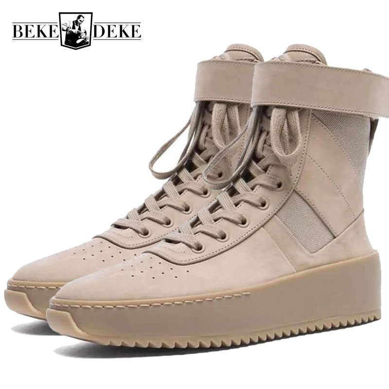 Fashion Men Military High Top Ankle Boots Thick Platform Med Heels Army  Tactical Genuine Leather Shoes 18cb008a90af
