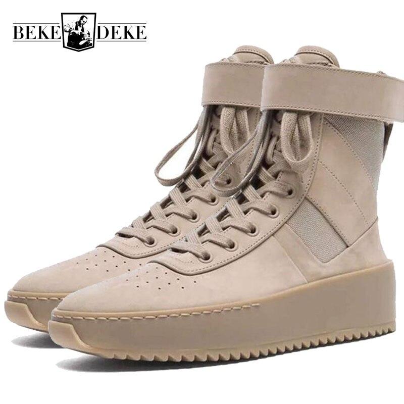 أزياء الرجال العسكرية عالية أعلى حذاء من الجلد سميكة منصة ميد الكعوب الجيش التكتيكية حقيقية أحذية من الجلد سستة دراجة نارية الأحذية-في أحذية للدراجات النارية من أحذية على  مجموعة 1