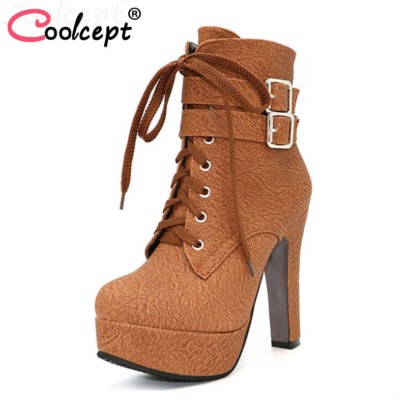 Coolcept Fashion Women Boots High Heels Ankle Boots Platform Shoes Brand Women Shoes Autumn Winter Botas Mujer Size 30-48 gj303 rhinestones 316l stainless steel couple s ring black silver size 9 7 2 pcs