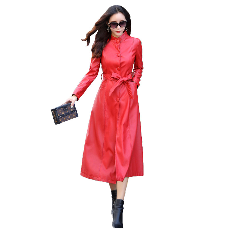 Faux   leather   coat M-5XL plus size black red green PU coat autumn winter Standing collar loose fashion faux   leather   jacket JD487
