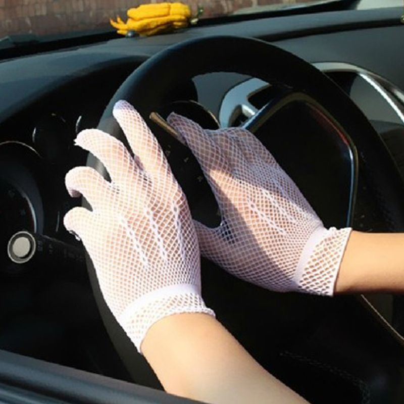 Women Hollow Out Fishnet Full Fingered Gloves Wrist Length Elastic Solid Color Sunscreen Party Costume W77