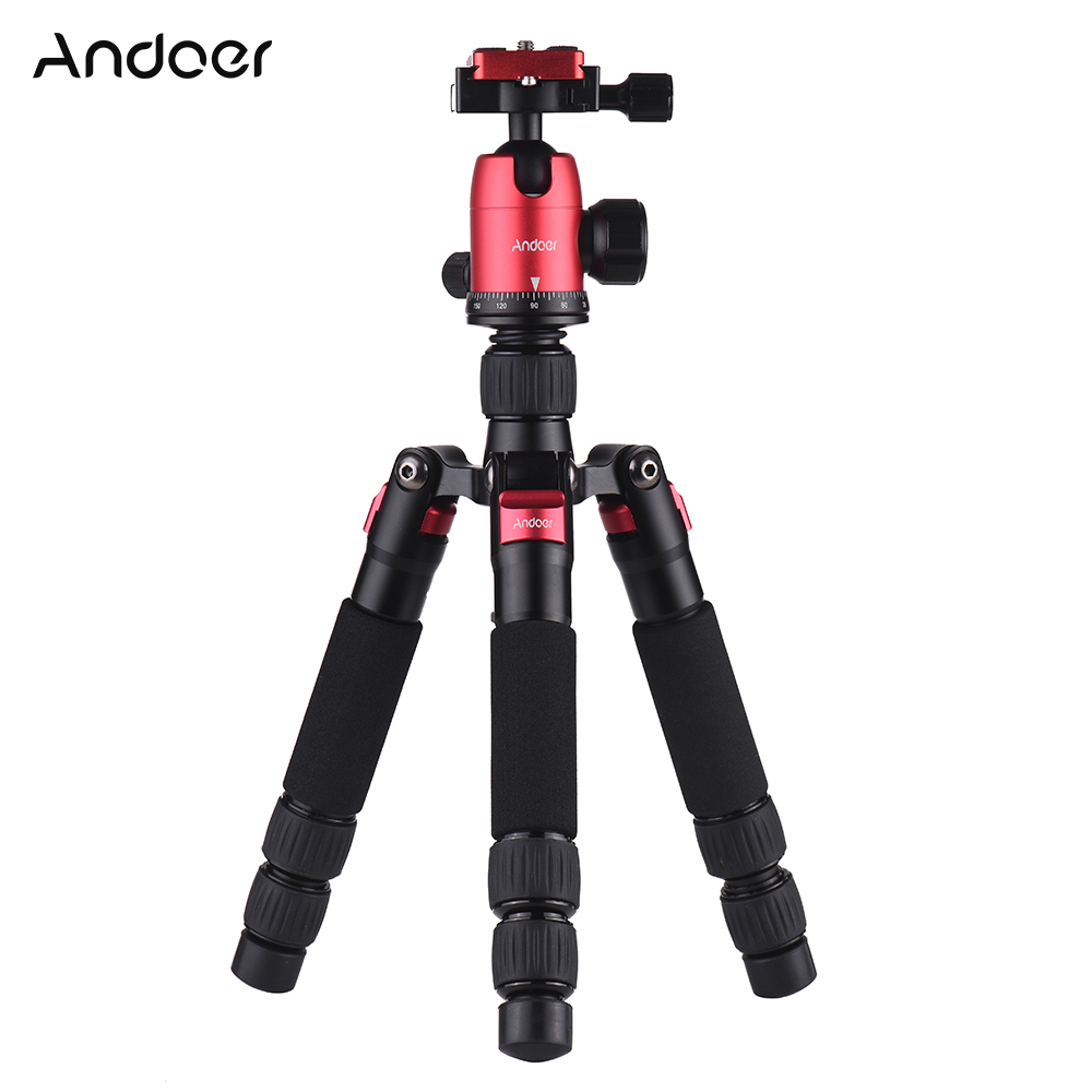 Andoer Mini Tripod Portable Desktop Stand with Ball Head Quick Release Plate Carry Bag for Canon