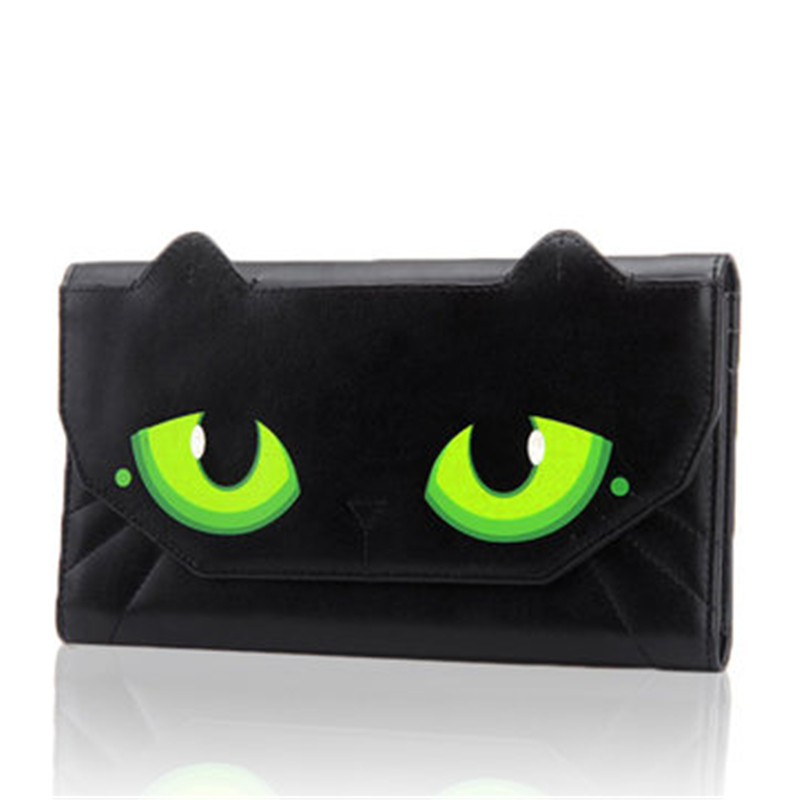 Women Cute Carton Cat Eyes Wallet Female Long Design Women Girl PU Leather Wallets Card Holder Zipper Design Brand Coin Purse women cute cat wallet small zipper girl wallet brand designed pu leather women coin purse female card holder wallet