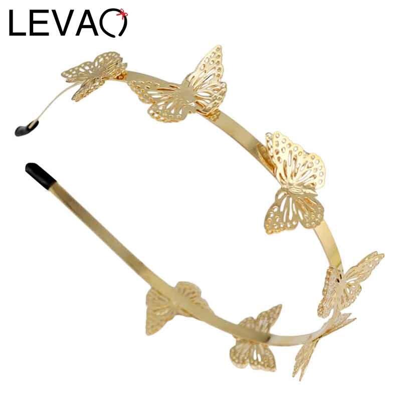 LEVAO Fashion Women Lady Gold Simulation butterfly Design child Hairbands Girls alloy Headbands Bezel Hair Accessories   Headwear