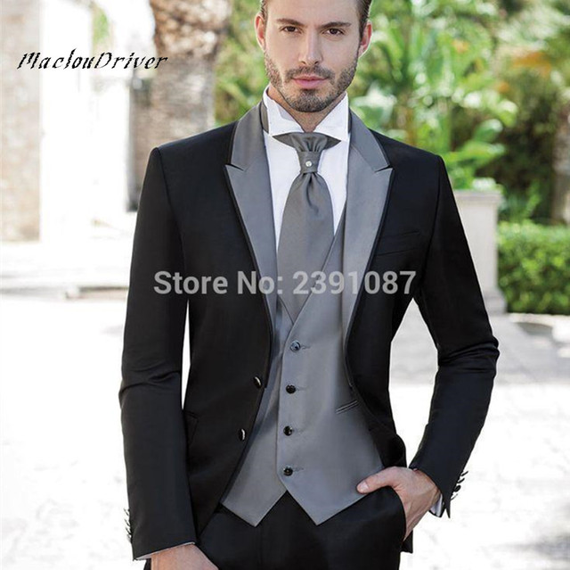 New Black Groom Wedding Party Suit Gray Peaked Lapel Mens Morning ...