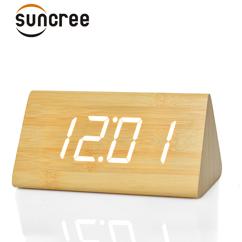 Suncree LED Wooden Table &Desk Alarm Clock,Temperature Voice Activated Digital electrinic Big number triangle wood Clocks
