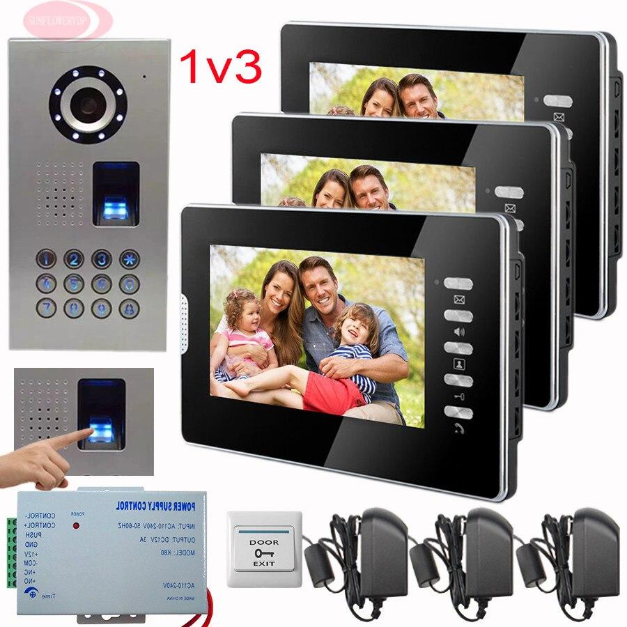 SUNFLOWERVDP 7'' Video Intercom Kit For A Private House Video Camera InThe Door Fingerprint/Code Unlock Doorphone Intercom 1V3 private l a
