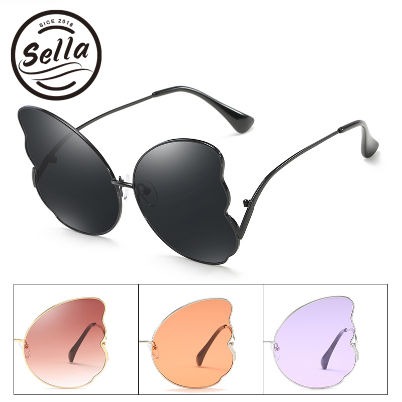 Sella New Arrival Fashion Women Oversized Butterfly Sunglasses Alloy Frame Tint Purple Lens Feather Shape Ladies Sun Glasses