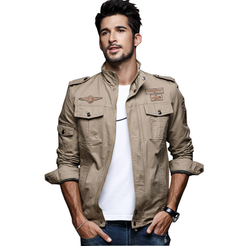 2017 Spring Mens Military Cargo Jackets Plus Size M-6XL Casual Army <font><b>Bomber</b></font> Jacket With Epaulets <font><b>Black</b></font> Green Khaki Clothes