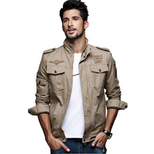 2017 Spring Mens Military Cargo Jackets Plus Size M-6XL Casual Army Bomber Jacket With Epaulets Black Green Khaki Clothes