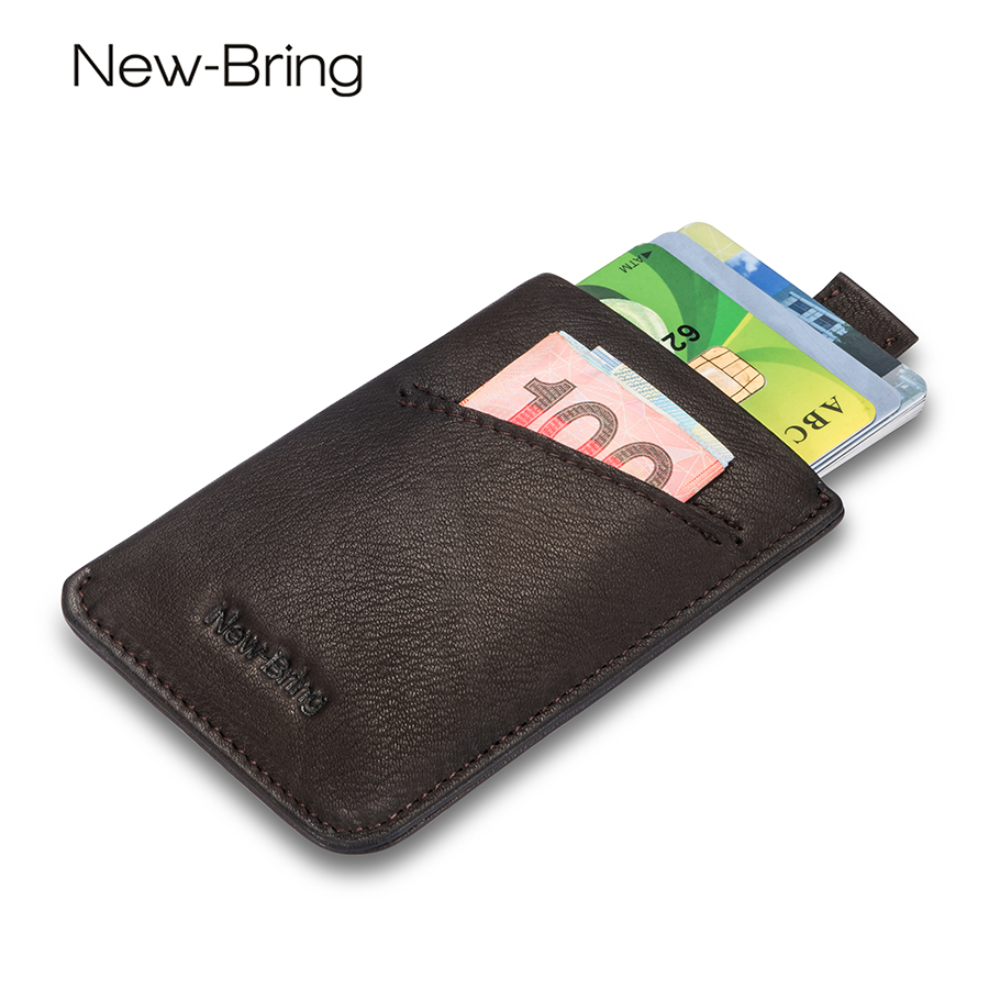 NewBring Small Genuine Leather Clutch Wallet Men Credit Card ID Holders Fame Compact Mini Wallet Holder