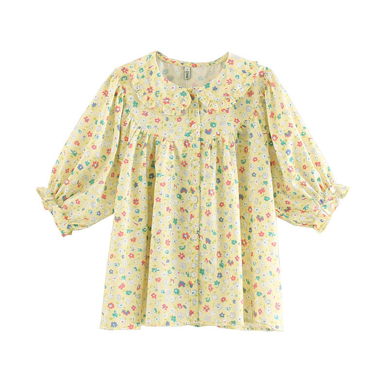 Sweet Women Shirt Cotton Summer French vintage Daisy Casual Retro Female Printed Shirts Thin Ladies Tops Loose Shirt in Blouses amp Shirts from Women 39 s Clothing