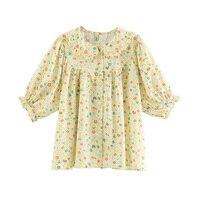 Sweet Women Shirt Cotton Summer French vintage Daisy Casual Retro Female Printed Shirts Thin Ladies Tops Loose Shirt