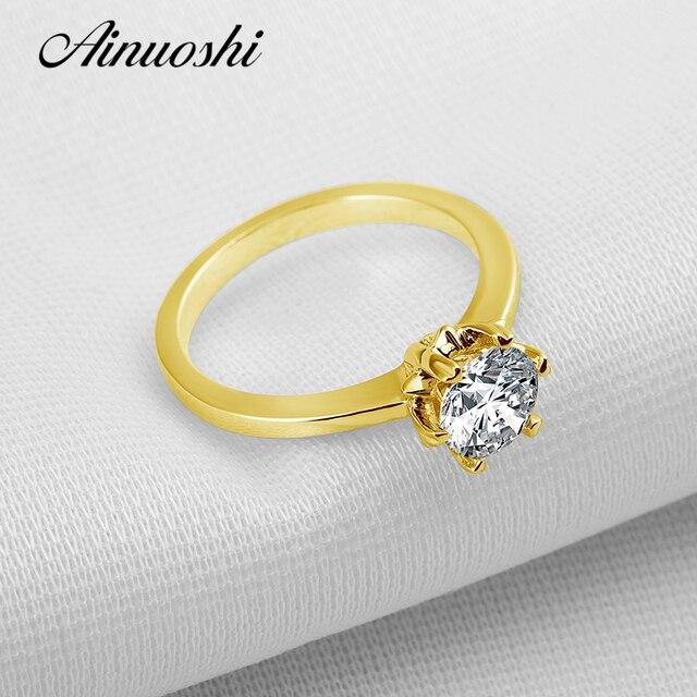 AINUOSHI 10 К твердое желтое золото обручальные кольца 1 карат шесть коготь  круглой огранки имитация бриллианта 6f79136839584